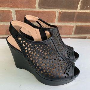 Limelight black cut out sling back wedge sandals